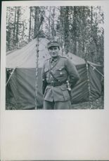 Year ? Juho Pekka Niemiin uniform strike a pose during the war, Finland.