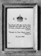Framed text about the royalty - 23 June 1939
