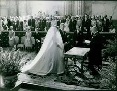 Princess Birgitta and the bridegroom Prince Johann Georg of Hohenzollern during the wedding ceremony.