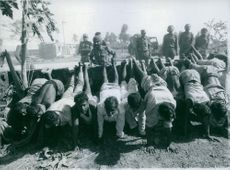 Razakars (collaborators made to stand on their hands, by the Mukti, Bahini, after the fall of Kulna.