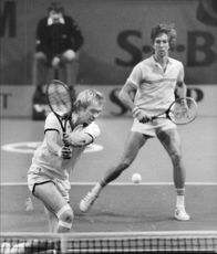 Jan Gunnarsson and Marc Dickson during the double finals in Stockholm Open 1982