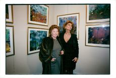 Sophia Loren together with Nadine de Rotschild at Jean Barthet's novel in Paris