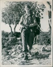Prince Michael of Kent leading a patrol of Sandhurst cadets in the Caros Forest in West Cyprus.