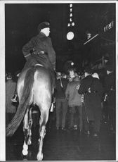 Mounted Police helped 'foot soldiers' to keep order on the sidewalks at the New Years celebration