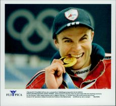 Winter Olympics in Nagano 1998. Skating speed skating.Aadne Sondral took gold in 1500 meters