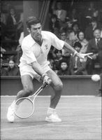 Ken Rosewall was in action during the match against Vijay Amritraj in Wimbledon in 1974