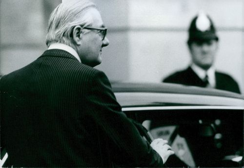 James Callaghan entering his official car outside Lancaster House in London.