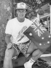 Tennis player Jan Gunnarsson with an Australian flag