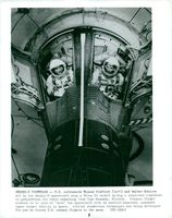 Thomas Stafford and Walter Schirra in the capsule with which they conducted their first space rendezvous