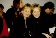 Actress Sharon Stone with his sister Kelly under Zang Toi's fashion show