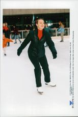 Tennis player Martina Hingis on skates at Rockefeller Center
