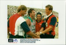 Modern five match. Team leader for the American team is none other than Dolf Lundgren