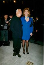 Sophia Loren and Giorgio Armani at a cocktail party in New York