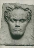A sculpture of Ludwig van Beethoven.
