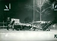road accidents:remains of a car after a collision.