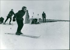 Princess Beatrix skiing.