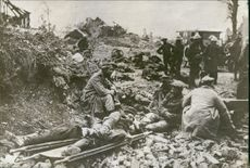 Soldiers sitting together, relaxing and communicating with each other.