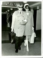 Scottish actor David McCallum and wife Katherine at London Heathrow Airport.