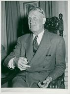 Maurice Chevalier portrait at press reception at Castle hotel