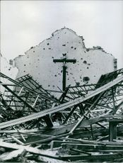 A photograph of a destroyed Roman Catholic Church.
