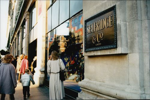 Selfridge Department Store on Oxford Street in London. Photography taken just before opening a Saturday, it's queue outside.