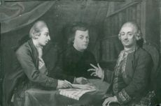 Oil painting is displayed at the Mozart exhibition at the National Museum