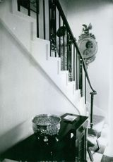 Princess Margaretha climbing down the stairs of her home.