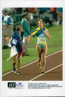 Ludmila Engquist is congratulated by silver medalist Brigita Budovec to the 100-meter-hedge gold at the Atlanta Olympic Games in 1996