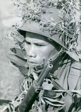 A Vietnamese soldier in camouflage and holding his gun. Vietnam.