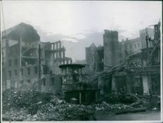 Bombed Gestapo headquarters at Copenhagen. Wreckage in the building used as a Gestapo Headquarters in Copenhagen, which was attacked in daylight on 21st March 1945, by Mosquitos of R.A.F. 2nd Tactical Air Force.