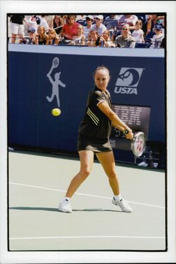 Martina HIngis plays at Arthur Ashe Children's Day