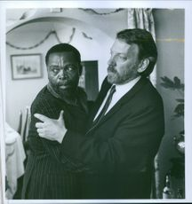 Donald Sutherland and Zakes Mokae in a scene from the film A Dry White Season, 1989.