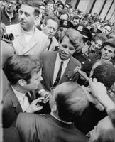 "Robert Francis ""Bobby"" Kennedy in crowded place."