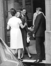 Princess Alexandra kissed the woman goodbye with Angus Ogilvy, hand shake with the man, 1965.