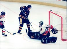Sweden played against Germany in the premiership match in the ice hockey World Cup in 1996. Sweden won the match by 6-1.