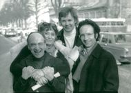 Werner Wolf Glaser, Ingrid Rosell, Ulf Björlin and Etienne Glaser outside the theater in Gothenburg where the premiere of