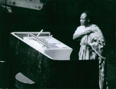 Kwame Nkrumah is giving his speech