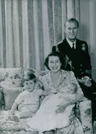 Princess Anne's christening in 1950, Queen Elizabeth and Prince Philip with their two children