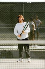 The stripes never go out. Here you can see Billie Jean King on one of the tennis courts in Central Park.