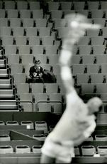 Lonely man on the stands during the Stockholm Open 1991