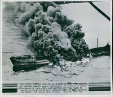 Two Petrol Tankers collided in English Channel. 10,788-ton Swedish Tanker Johannishus and Panamanian Vessel Buccaneer of 7,256-tons.  1955