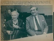 Nobel Peace Prize winner Alva Myrdal and Denis Healey at the nuclear weapons debate