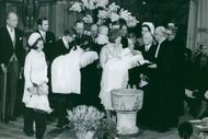 Pieter van Vollenhoven, Jr. and Princess Margriet Francisca of the Netherlands' at the christening. 1970.