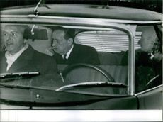 André Malraux seen at the backseat of a car. 1969.