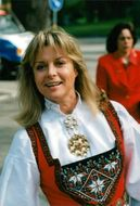 Grynet Molvig in Norwegian folk costume