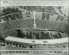 Picture of the Olympic Stadium taken from a helicopter during the rehearsal of the Olympic Invasion Ceremony