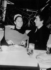 Geraldine Chaplin enjoying meal.