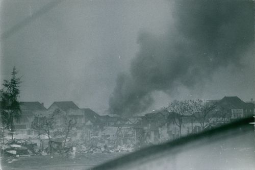 houses burning and destroyed in Vietnam. 1968