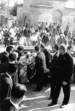 Pope Paul VI getting out of car.