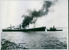 Explosion on the ship.